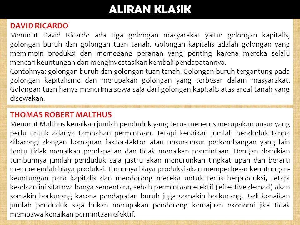 ALIRAN KLASIK DAVID RICARDO THOMAS ROBERT MALTHUS