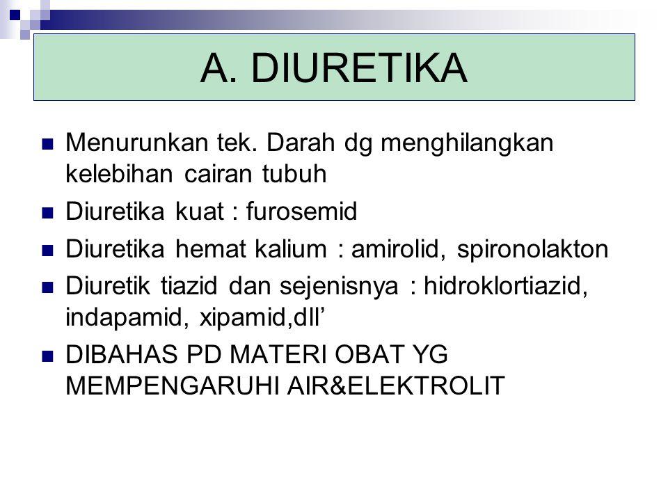 A. DIURETIKA Menurunkan tek. Darah dg menghilangkan kelebihan cairan tubuh. Diuretika kuat : furosemid.