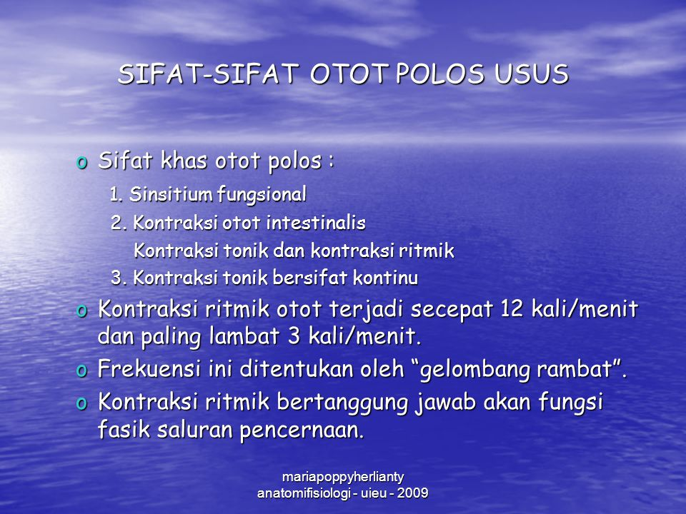 SIFAT-SIFAT OTOT POLOS USUS