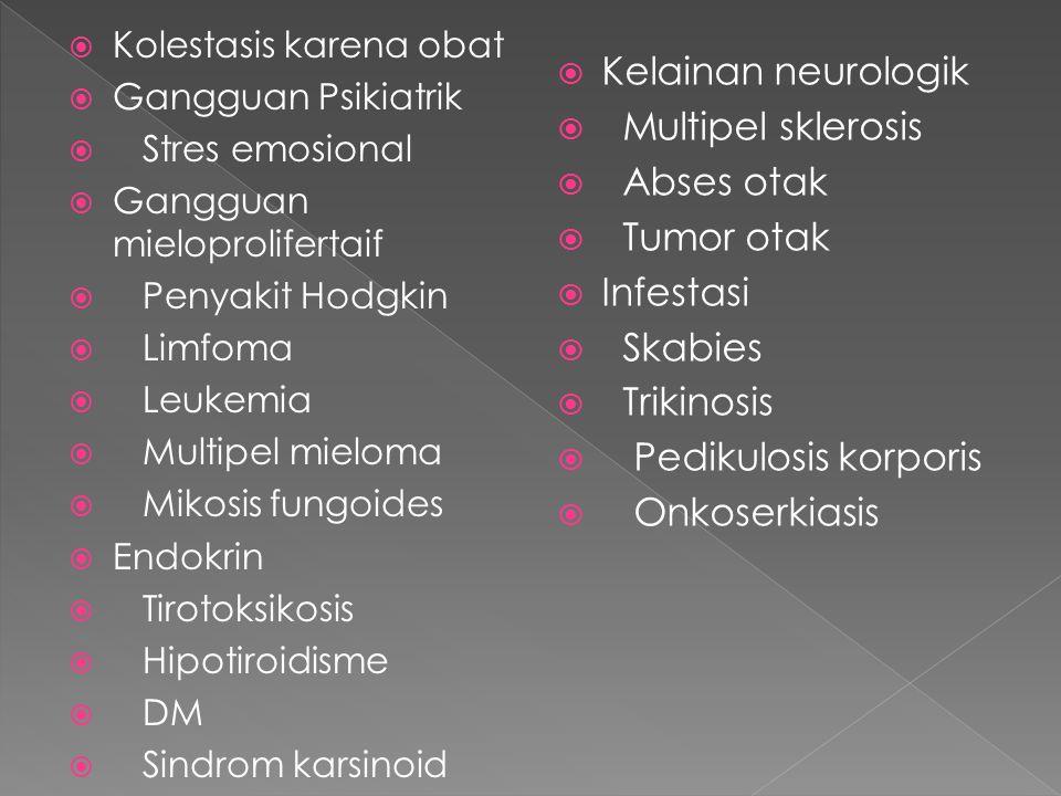 Kelainan neurologik Multipel sklerosis Abses otak Tumor otak Infestasi