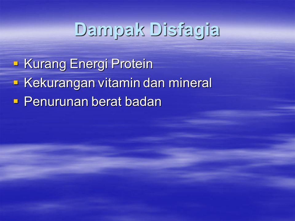 Dampak Disfagia Kurang Energi Protein Kekurangan vitamin dan mineral
