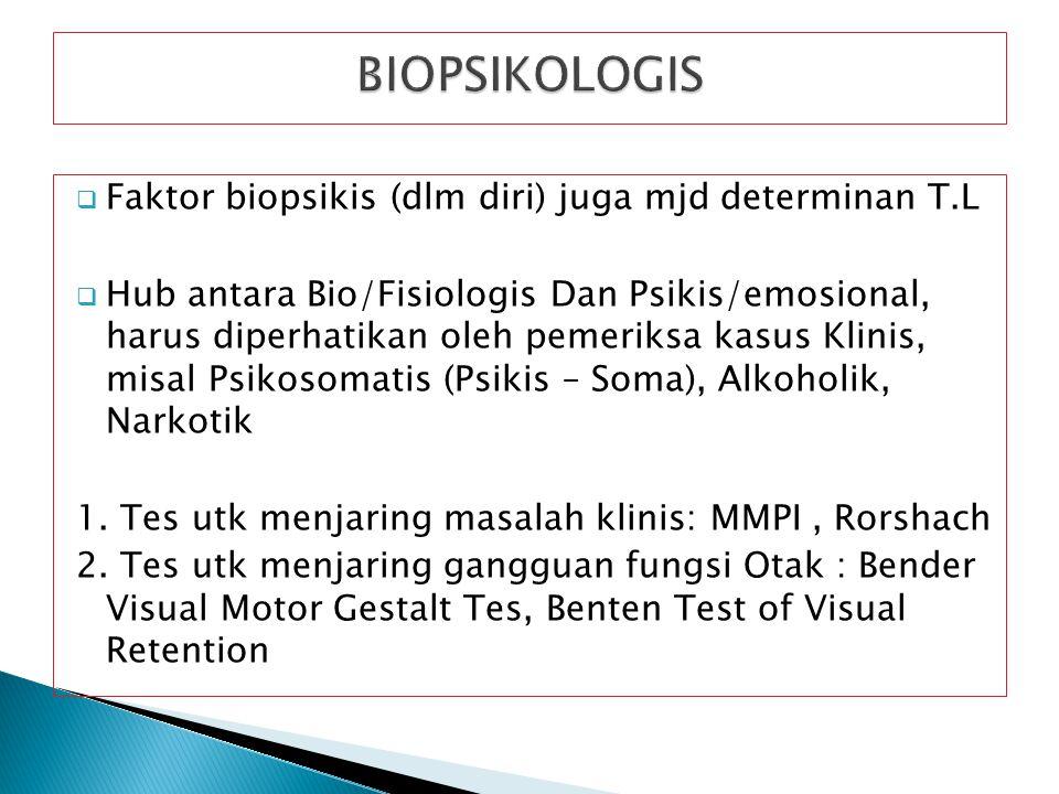 BIOPSIKOLOGIS Faktor biopsikis (dlm diri) juga mjd determinan T.L