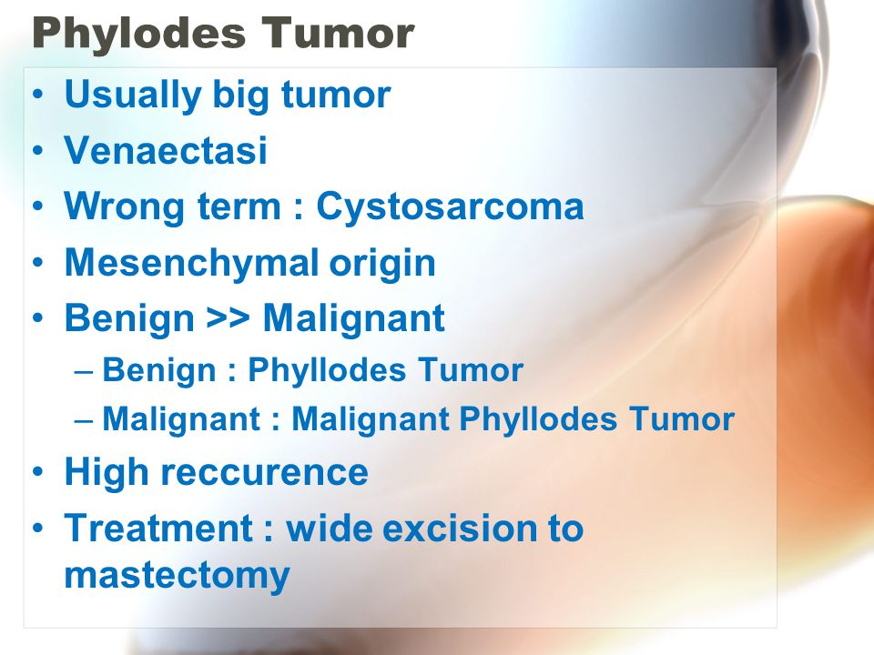 Phylodes Tumor Usually big tumor Venaectasi Wrong term : Cystosarcoma