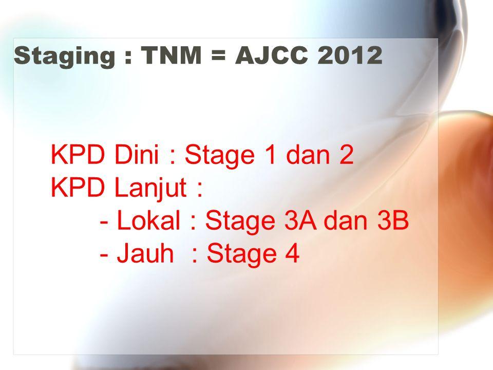 KPD Dini : Stage 1 dan 2 KPD Lanjut : - Lokal : Stage 3A dan 3B