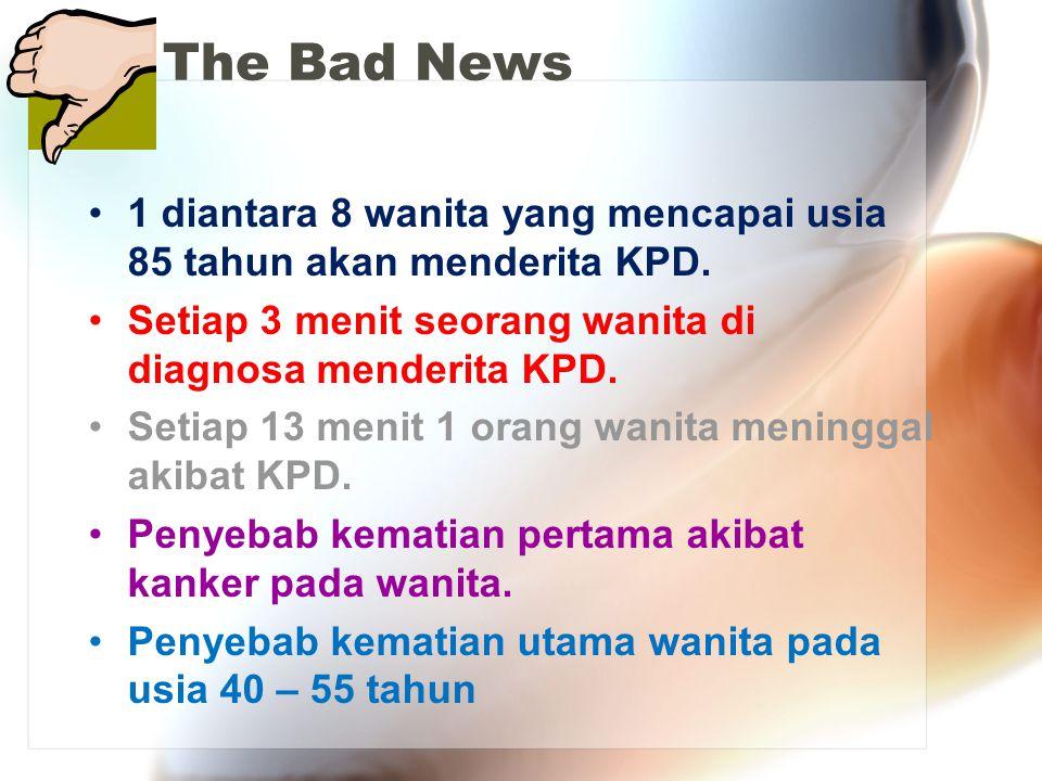 The Bad News 1 diantara 8 wanita yang mencapai usia 85 tahun akan menderita KPD. Setiap 3 menit seorang wanita di diagnosa menderita KPD.