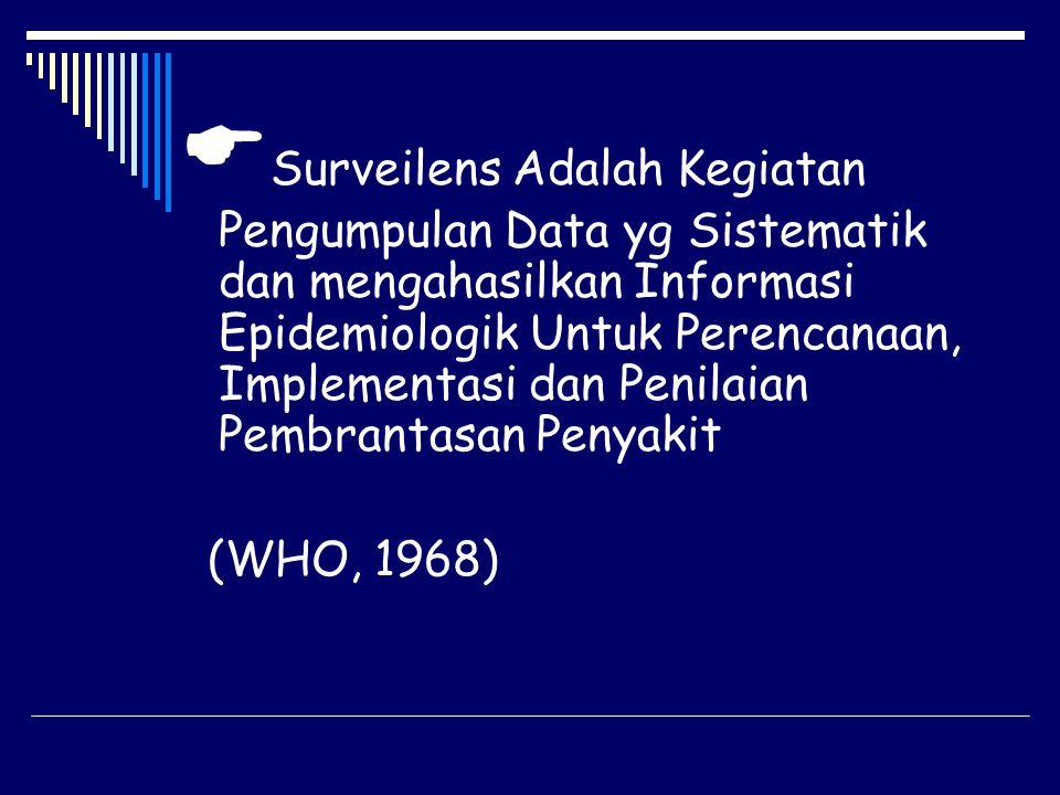 Surveilens Adalah Kegiatan Pengumpulan Data yg Sistematik dan mengahasilkan Informasi Epidemiologik Untuk Perencanaan, Implementasi dan Penilaian Pembrantasan Penyakit