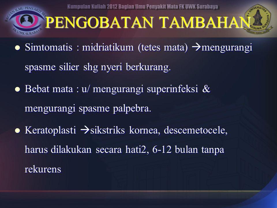 PENGOBATAN TAMBAHAN Simtomatis : midriatikum (tetes mata) mengurangi spasme silier shg nyeri berkurang.