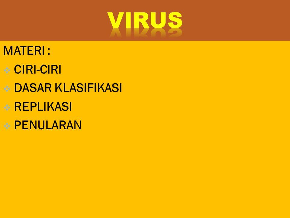VIRUS MATERI : CIRI-CIRI DASAR KLASIFIKASI REPLIKASI PENULARAN