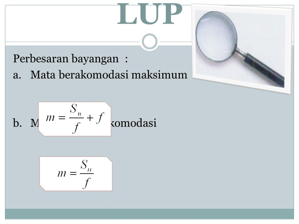 LUP Perbesaran bayangan : a. Mata berakomodasi maksimum b. Mata tidak berakomodasi