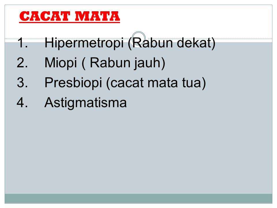 CACAT MATA 1. Hipermetropi (Rabun dekat) 2. Miopi ( Rabun jauh) 3.