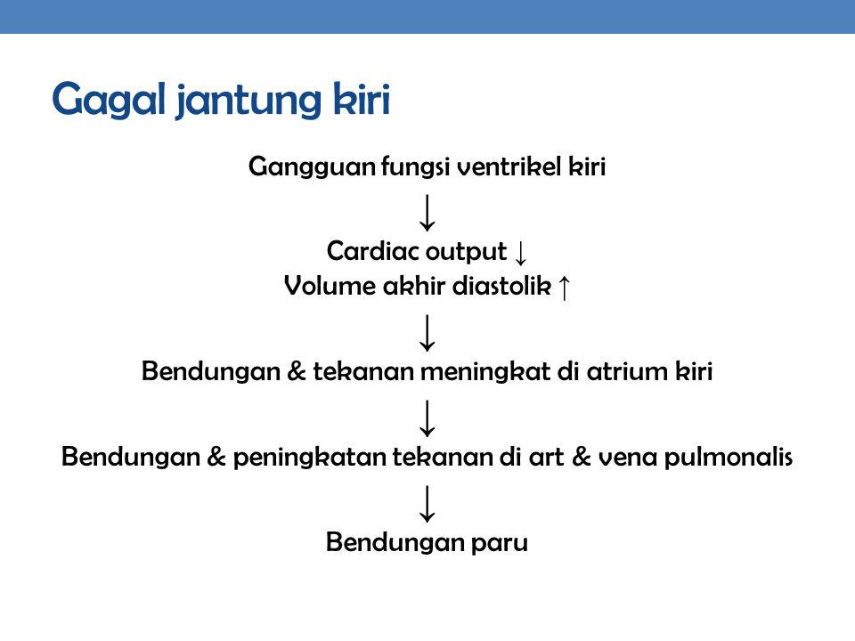 Gagal jantung kiri ↓ Gangguan fungsi ventrikel kiri Cardiac output ↓