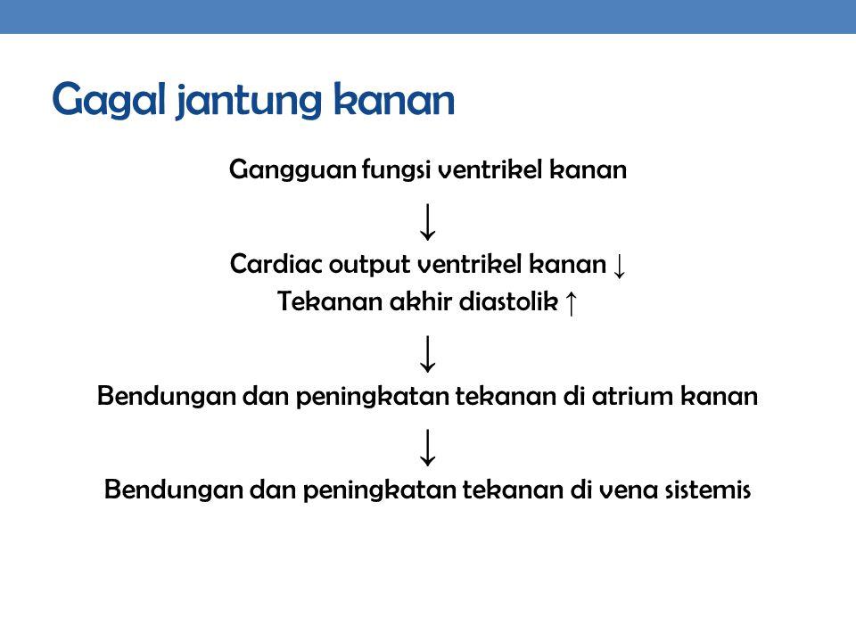 Gagal jantung kanan ↓ Gangguan fungsi ventrikel kanan
