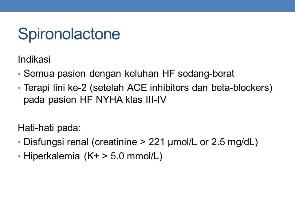 Spironolactone Indikasi Semua pasien dengan keluhan HF sedang-berat