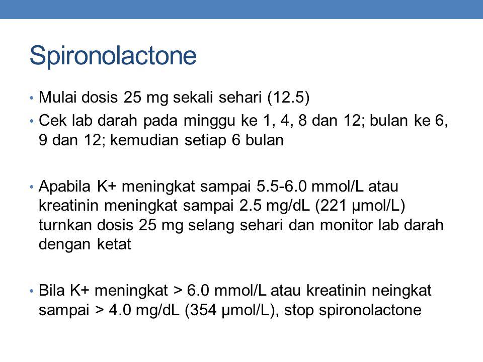Spironolactone Mulai dosis 25 mg sekali sehari (12.5)