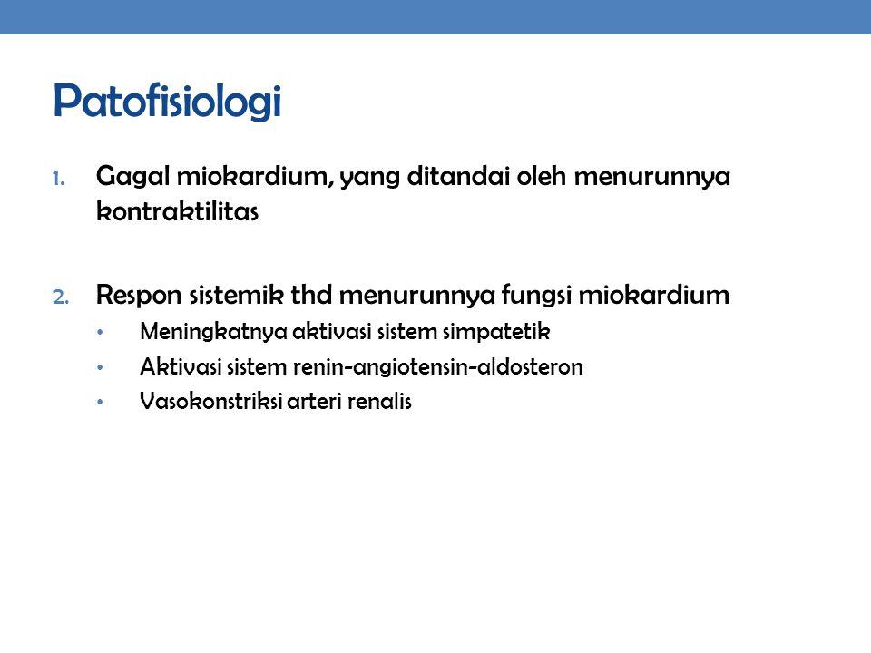 Patofisiologi Gagal miokardium, yang ditandai oleh menurunnya kontraktilitas. Respon sistemik thd menurunnya fungsi miokardium.