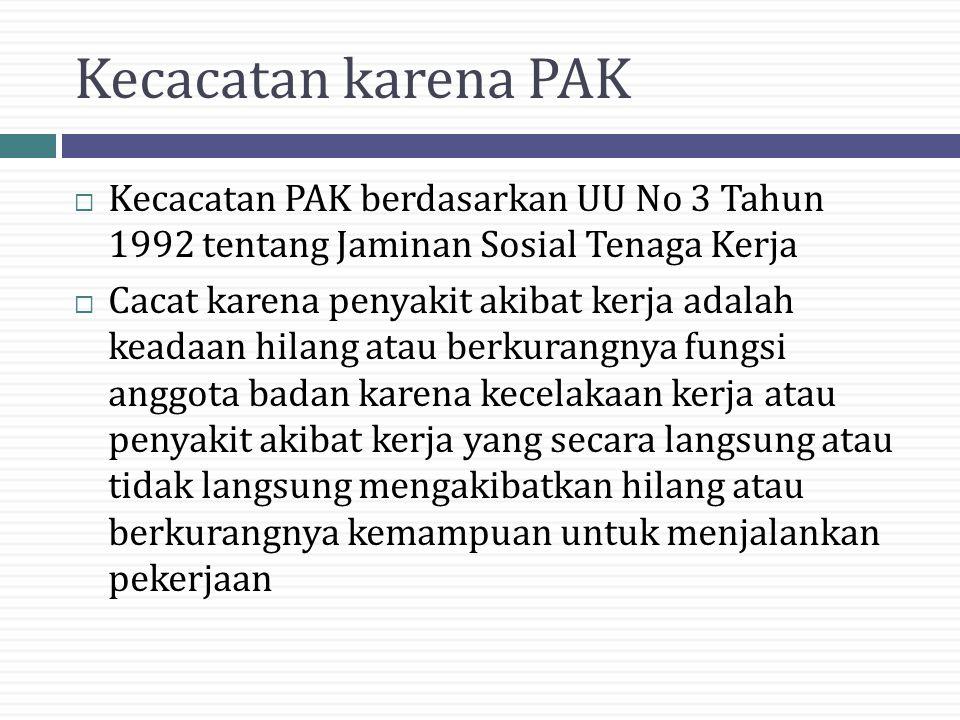 Kecacatan karena PAK Kecacatan PAK berdasarkan UU No 3 Tahun 1992 tentang Jaminan Sosial Tenaga Kerja.