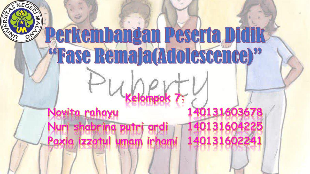 Perkembangan Peserta Didik Fase Remaja(Adolescence)