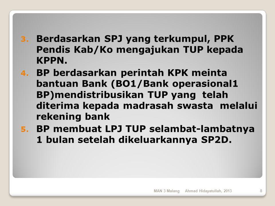 Berdasarkan SPJ yang terkumpul, PPK Pendis Kab/Ko mengajukan TUP kepada KPPN.