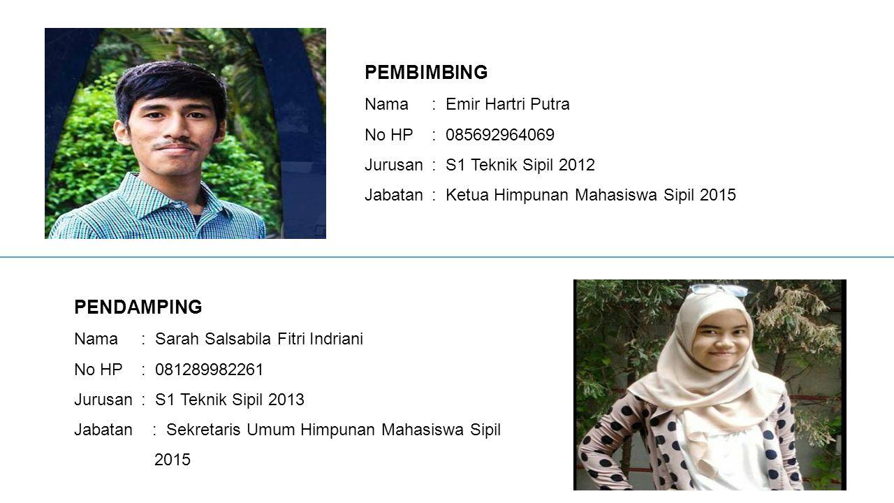 PEMBIMBING PENDAMPING Nama : Emir Hartri Putra No HP : 085692964069