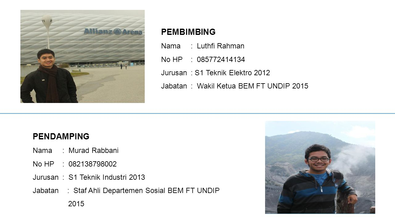 PEMBIMBING PENDAMPING Nama : Luthfi Rahman No HP : 085772414134