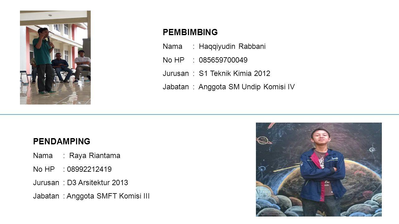 PEMBIMBING PENDAMPING Nama : Haqqiyudin Rabbani No HP : 085659700049