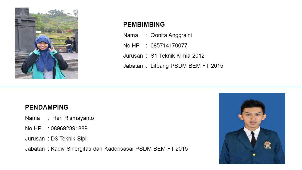 PEMBIMBING PENDAMPING Nama : Qonita Anggraini No HP : 085714170077