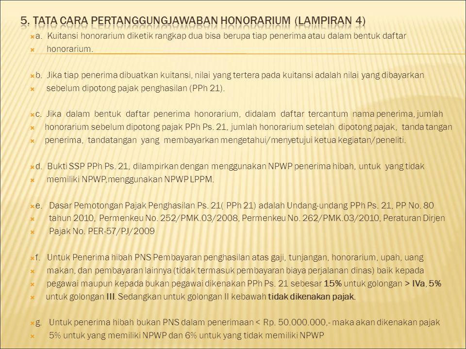 5. TATA CARA PERTANGGUNGJAWABAN HONORARIUM (LAMPIRAN 4)
