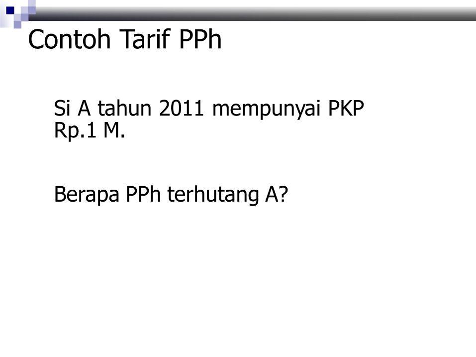 Contoh Tarif PPh Si A tahun 2011 mempunyai PKP Rp.1 M.