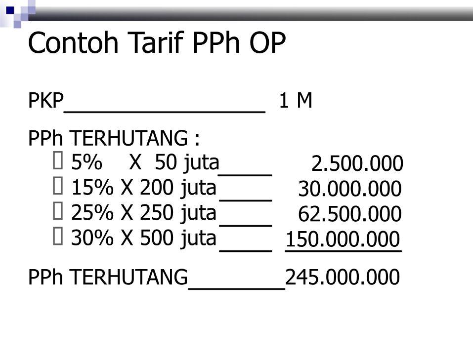 Contoh Tarif PPh OP ƒ 5% X 50 juta ƒ 15% X 200 juta ƒ 25% X 250 juta