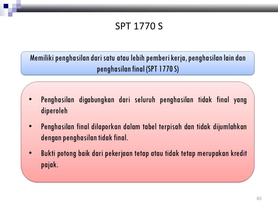 SPT 1770 S Memiliki penghasilan dari satu atau lebih pemberi kerja, penghasilan lain dan penghasilan final (SPT 1770 S)