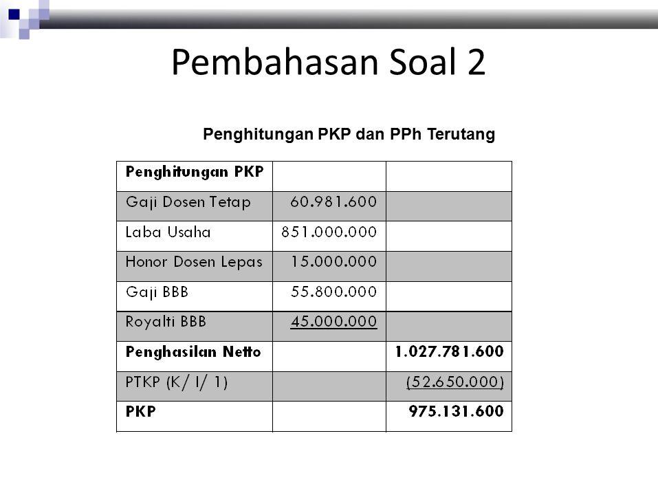 Pembahasan Soal 2 Penghitungan PKP dan PPh Terutang