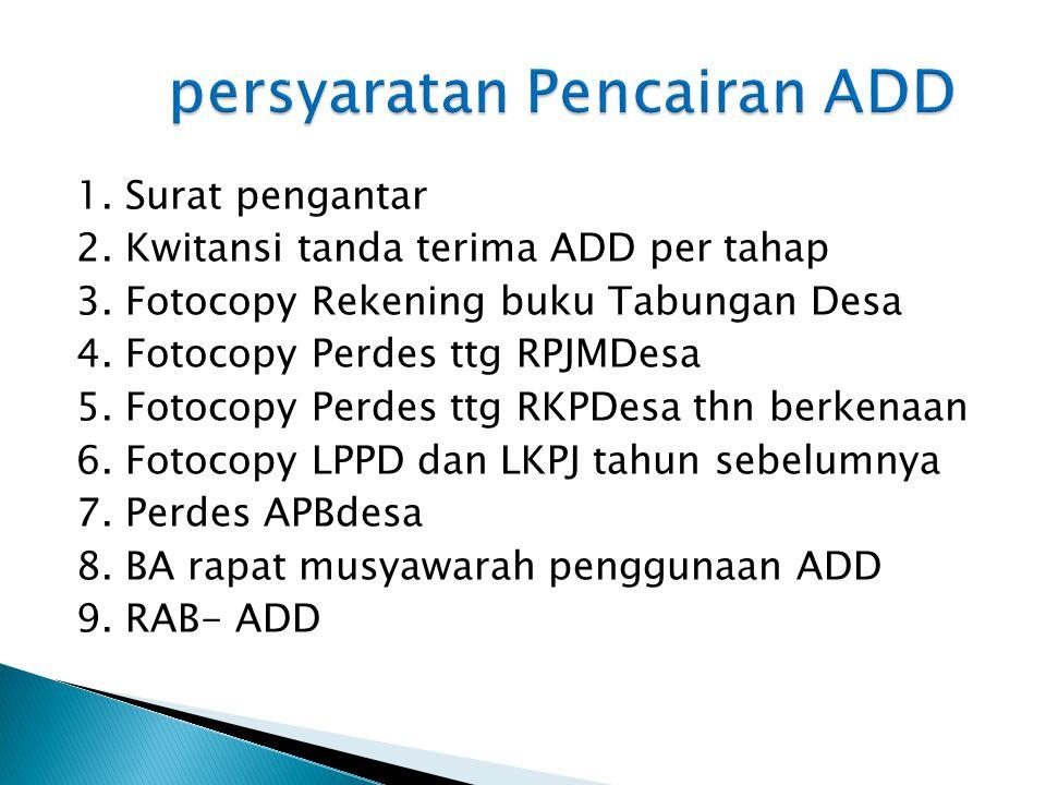 persyaratan Pencairan ADD