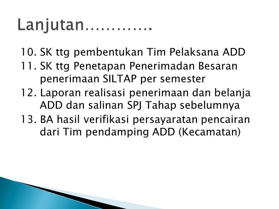 Lanjutan…………. 10. SK ttg pembentukan Tim Pelaksana ADD