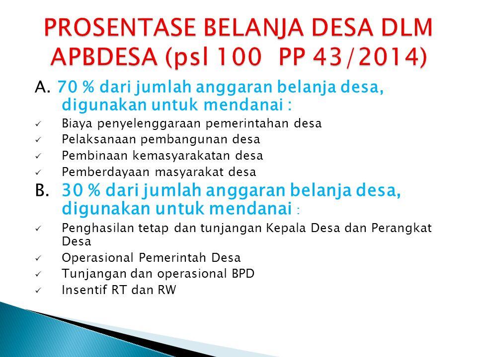 PROSENTASE BELANJA DESA DLM APBDESA (psl 100 PP 43/2014)