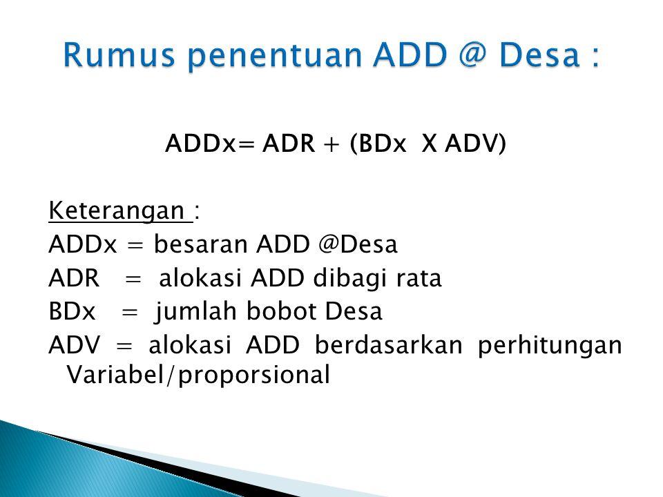 Rumus penentuan ADD @ Desa :