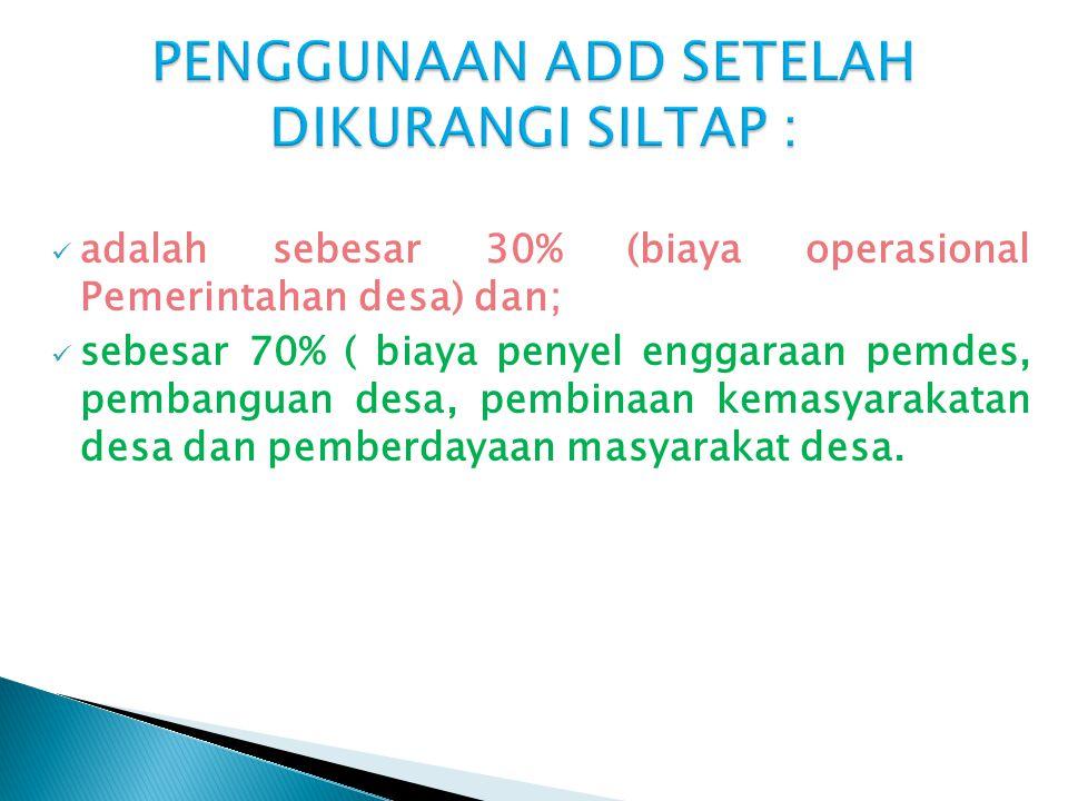 PENGGUNAAN ADD SETELAH DIKURANGI SILTAP :