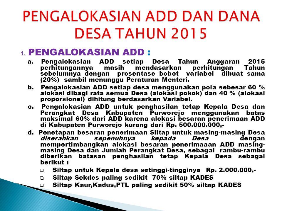 PENGALOKASIAN ADD DAN DANA DESA TAHUN 2015