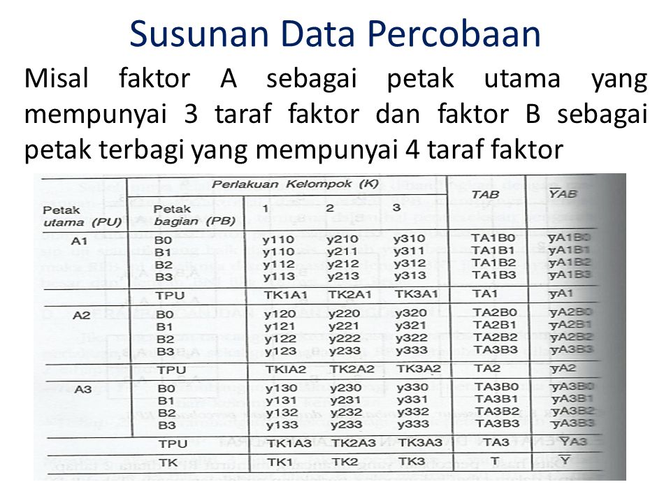 Susunan Data Percobaan
