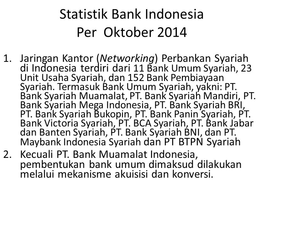 Statistik Bank Indonesia Per Oktober 2014