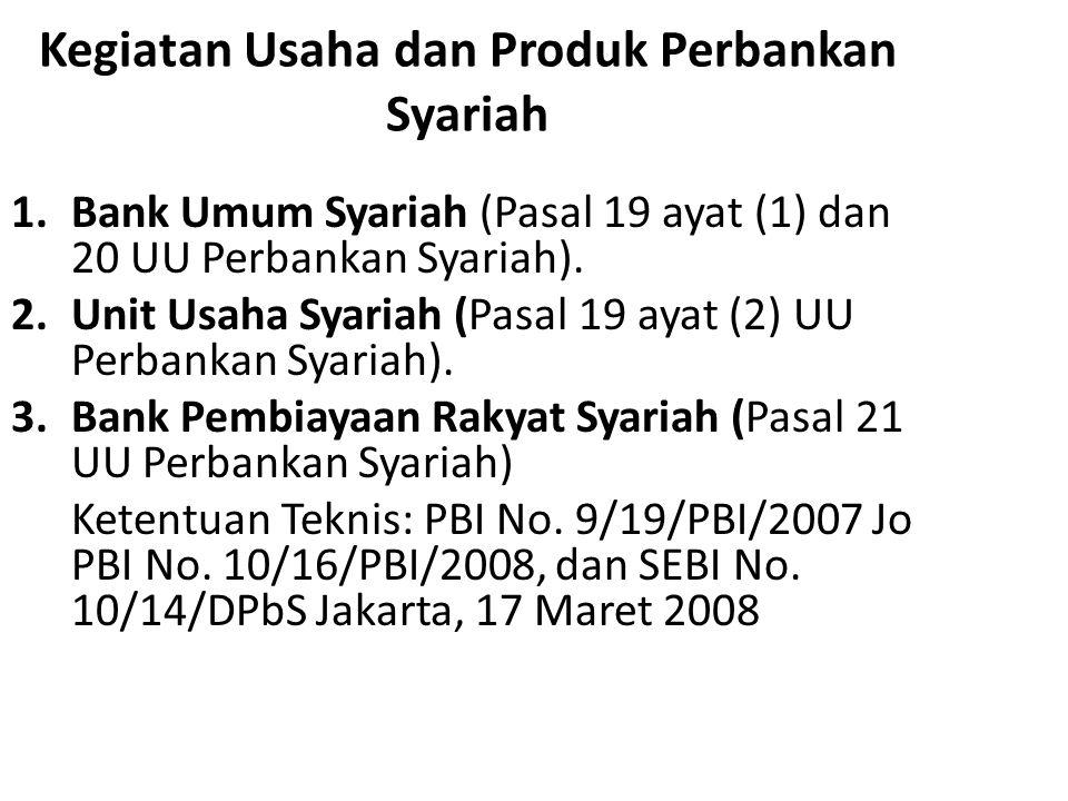 Kegiatan Usaha dan Produk Perbankan Syariah