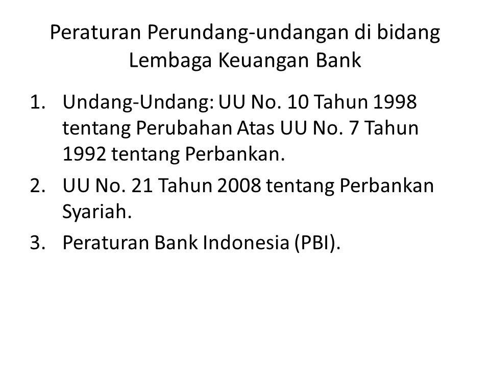 Peraturan Perundang-undangan di bidang Lembaga Keuangan Bank