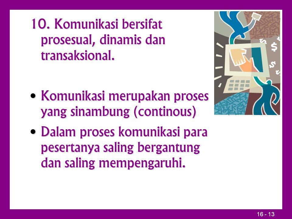 10. Komunikasi bersifat prosesual, dinamis dan transaksional.