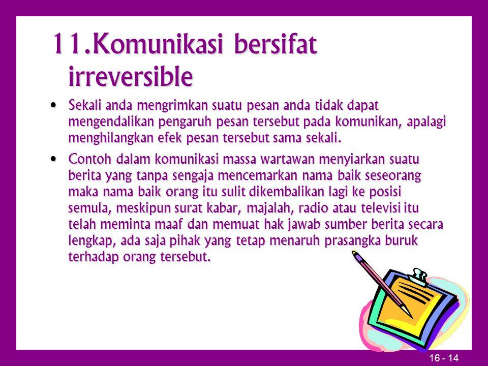 11.Komunikasi bersifat irreversible