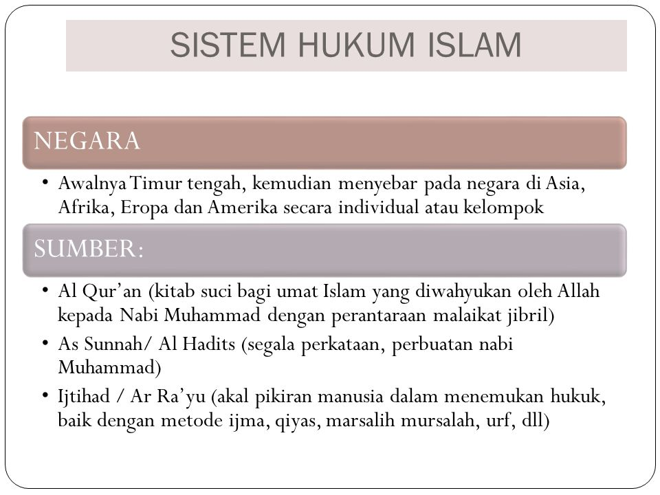 SISTEM HUKUM ISLAM NEGARA
