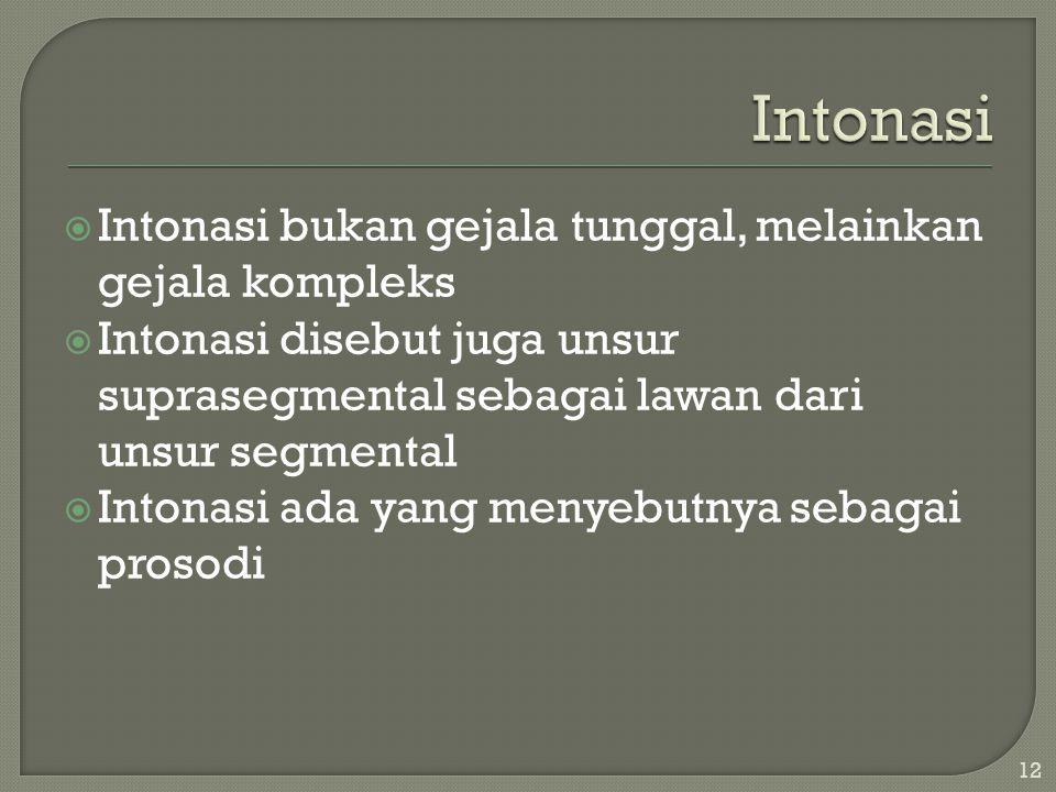 Intonasi Intonasi bukan gejala tunggal, melainkan gejala kompleks
