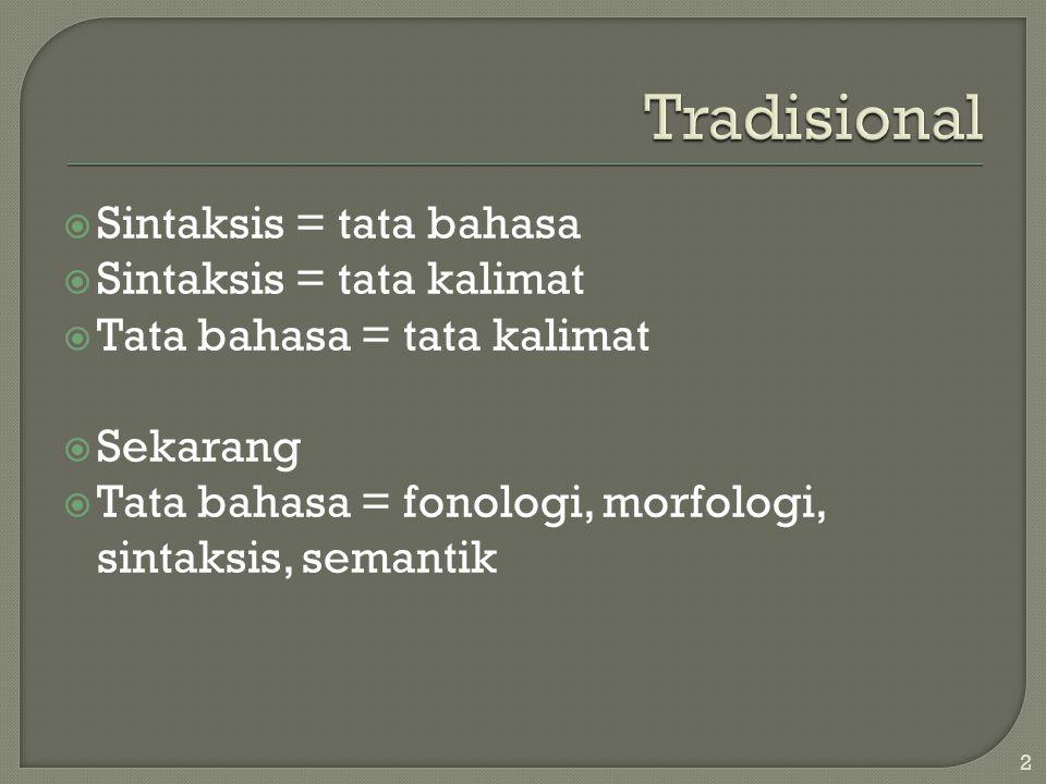 Tradisional Sintaksis = tata bahasa Sintaksis = tata kalimat