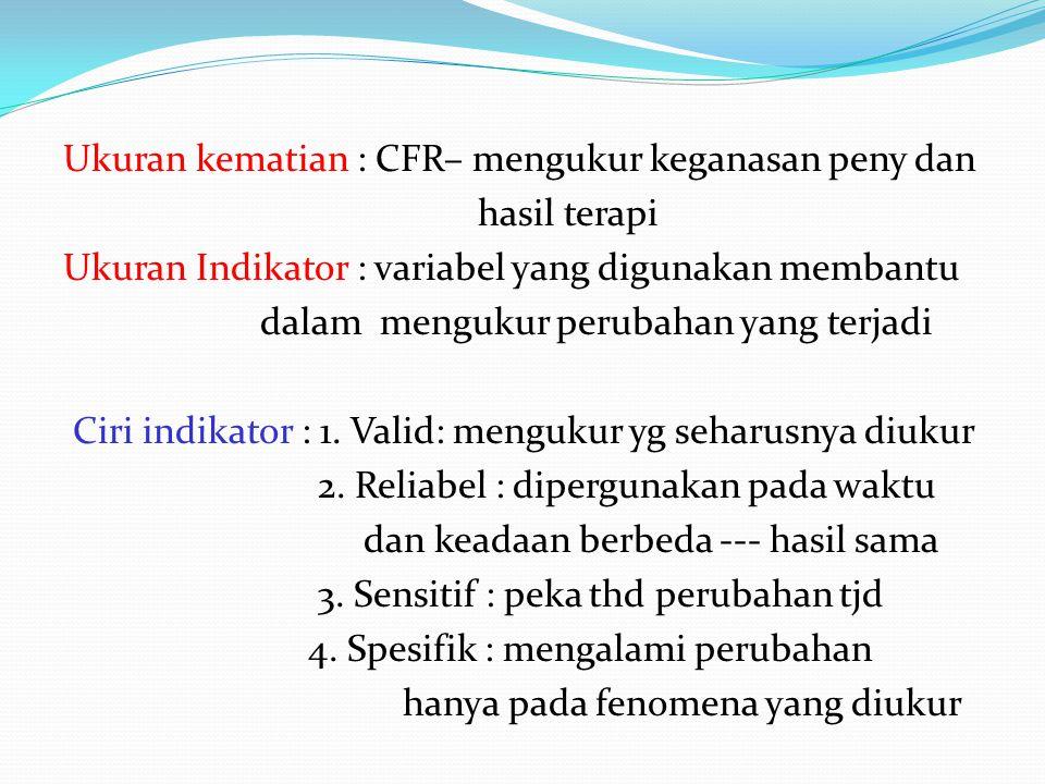 Ukuran kematian : CFR– mengukur keganasan peny dan hasil terapi Ukuran Indikator : variabel yang digunakan membantu dalam mengukur perubahan yang terjadi Ciri indikator : 1.