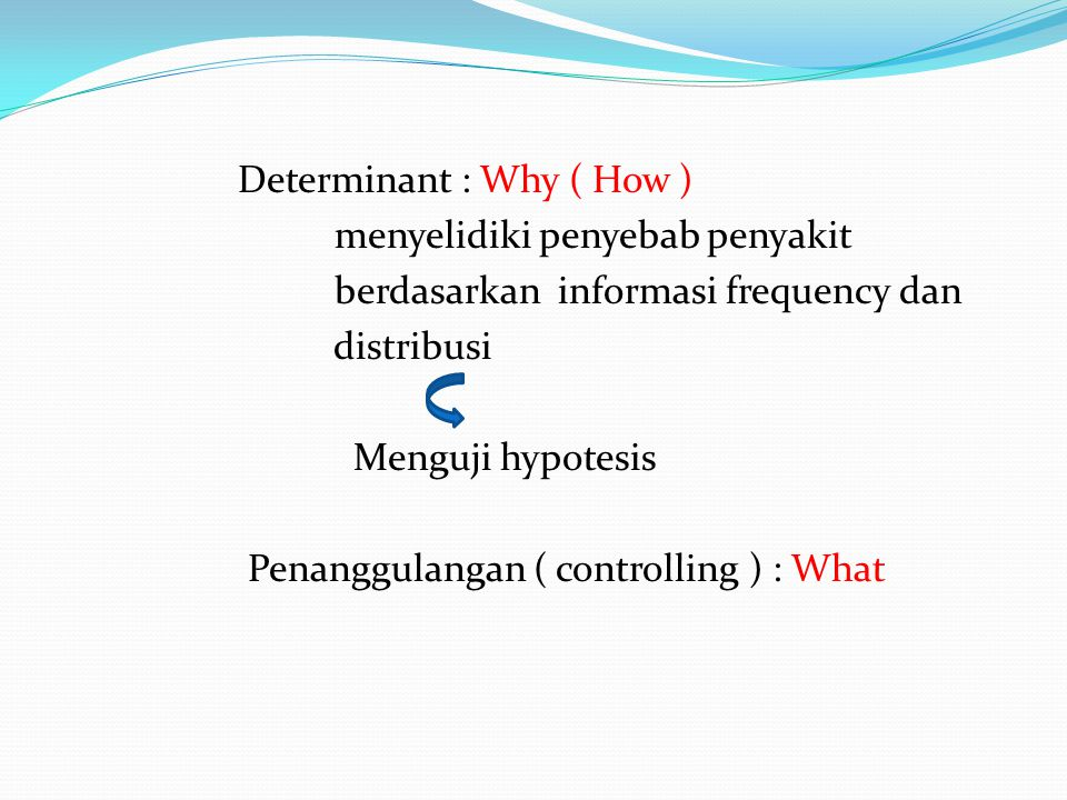 Determinant : Why ( How ) menyelidiki penyebab penyakit berdasarkan informasi frequency dan distribusi Menguji hypotesis Penanggulangan ( controlling ) : What