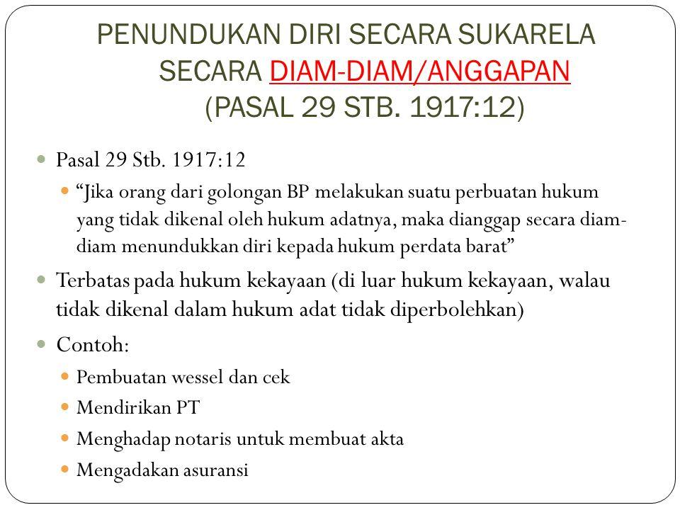PENUNDUKAN DIRI SECARA SUKARELA SECARA DIAM-DIAM/ANGGAPAN (PASAL 29 STB. 1917:12)