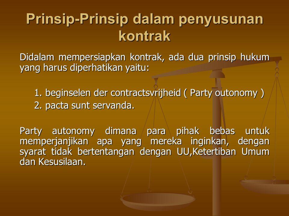 Prinsip-Prinsip dalam penyusunan kontrak